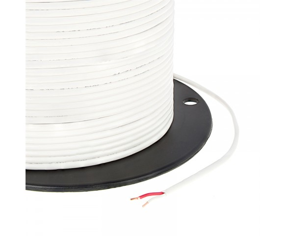 Jacketed 18 Gauge Wire - Two Conductor Power Wire -  UL List - Type CL2 White PVC Jacketed