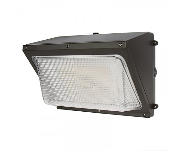 40W LED Wall Pack with Photocell - 6000 Lumens - Glass Lens - 250W Metal Halide Equivalent - 5000K/4000K