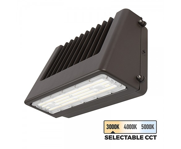 40W Selectable CCT Full Cutoff LED Wall Pack - Bypassable Photocell - 4800 Lumens - 175W MH Equivalent