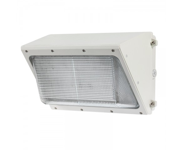 80W LED Wall Pack - 400W Metal Halide Equivalent - White - Glass Lens - 8000 Lumens - 5000K