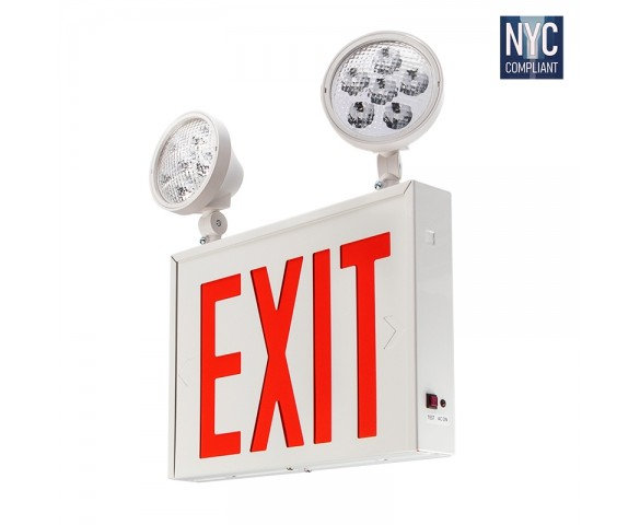 Red LED Exit Sign - NYC Emergency Light with Backup Battery - (2) Adjustable Light Heads
