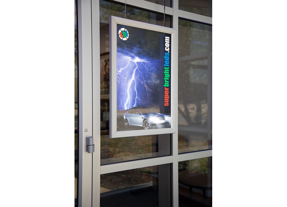Double-Sided LED Light Box w/ Snap-Open Frame - Hanging LED Window Sign w/ Custom-Printed Luxart® Graphics - LBDH-x-S