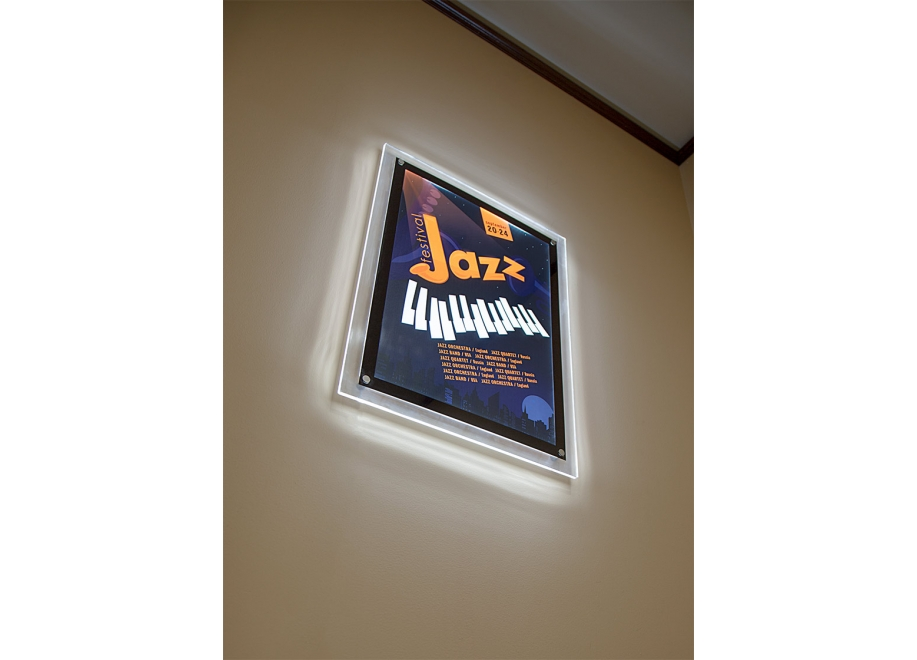 Ultra-Thin LED Light Box w/ Stand-Off Acrylic Frame and Custom-Printed Luxart® Graphic - LBEL-x-B