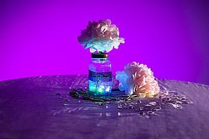 Wedding reception LED lit table centerpiece