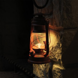 Old Red LED Lantern w/ Realistic Flicker Flame