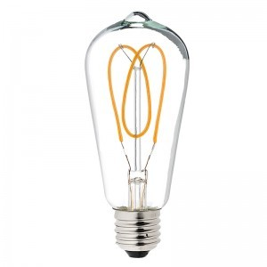 Flexible Filament LED Bulb - ST18 Carbon Filament Style Bulb - Dimmable 15 Watt Equivalent - Heart - 153 Lumens