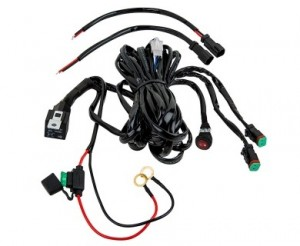 LED Light Wiring Harness with Relay and Weatherproof Switch - Dual Output - DT Connector