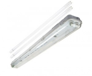 T8 Vapor Tight LED Light Fixture with 2 T8 Tubes - Industrial LED Light - 4' Long